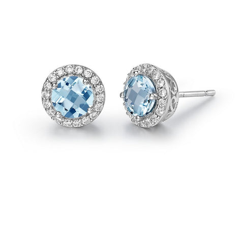 Sky Blue Topaz Halo Stud Earrings