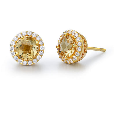Citrine Halo Stud Earrings