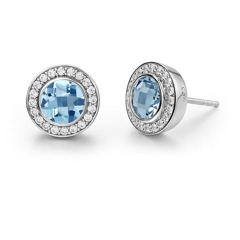 Round Sky Blue Topaz Stud Earrings