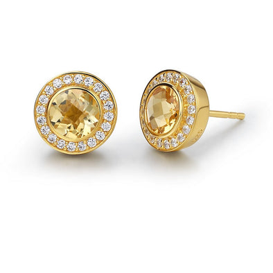 Round Citrine Stud Earrings