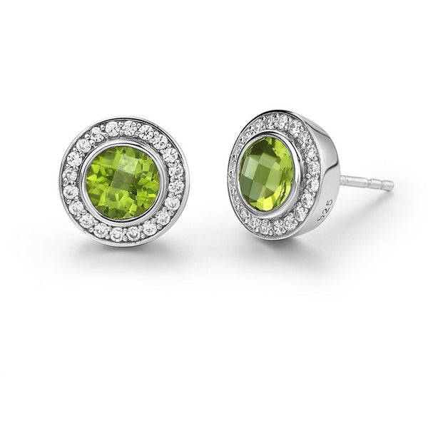 Round Peridot Stud Earrings