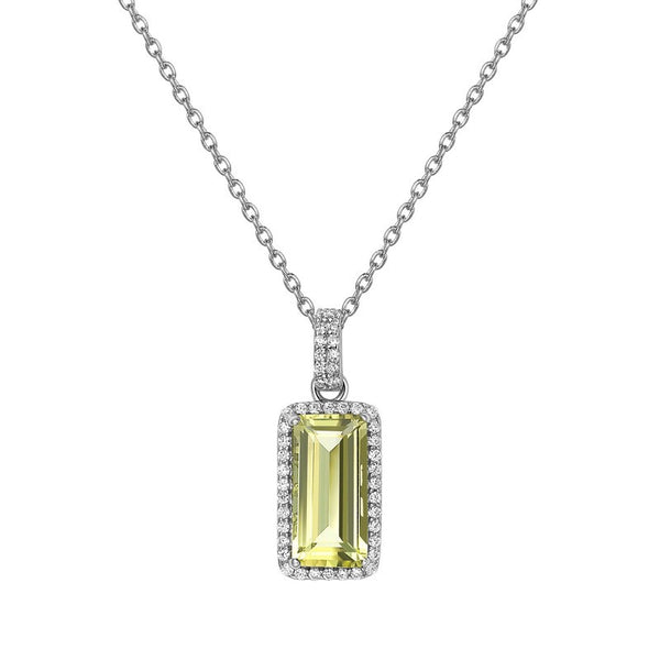 Lemon Quartz Emerald Cut PENDANT