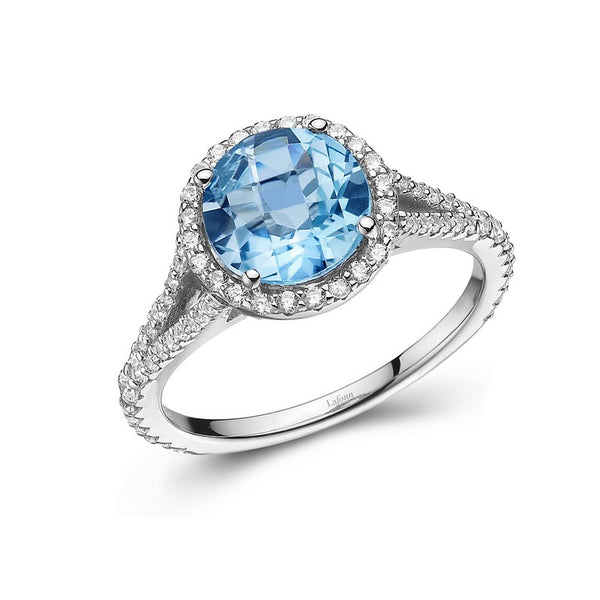 Round Sky Blue Topaz Ring