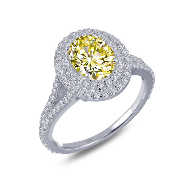 Canary Oval Halo Ring