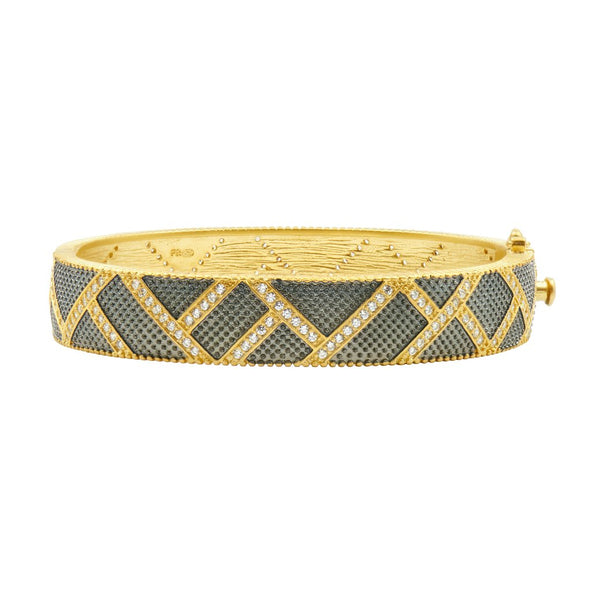 Textured Ornaments Wide Hinge Bangle