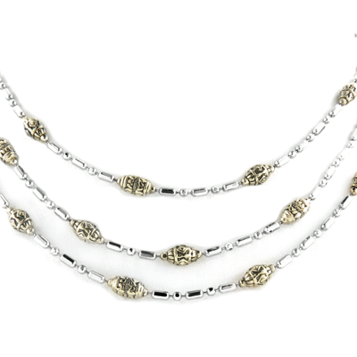 Beaded Two-Tone Triple Strand Necklace