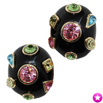 Black Gem Clip Earrings