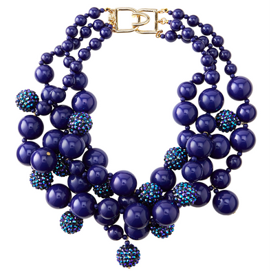 Blue Pave Bauble Necklace