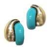 Turquoise and Gold Clip Earrings