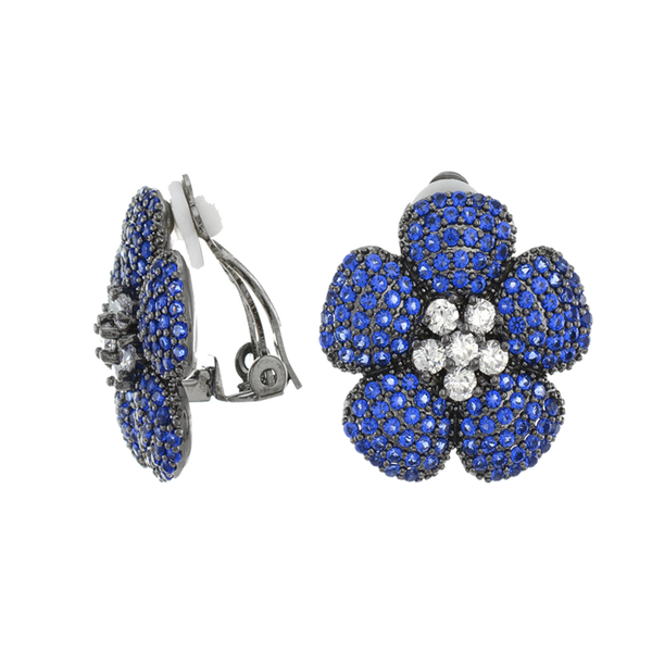 Blue Flower Clip On Earrings