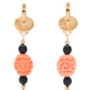 Carved Black Tassel Earrings