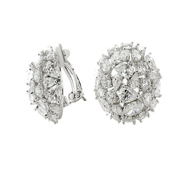 Cubic Zirconia Dome Earrings