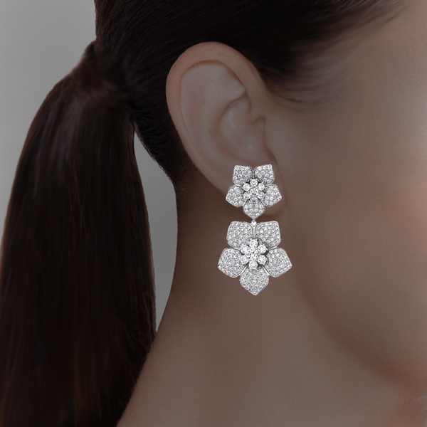 Double Drop Flower Clip On Earrings