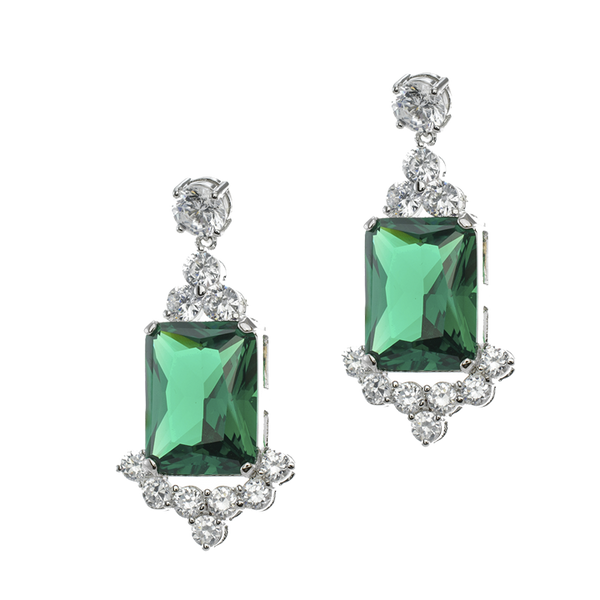 Emerald Deco Drop Earrings