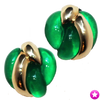 Green and Gold Clip Earrings