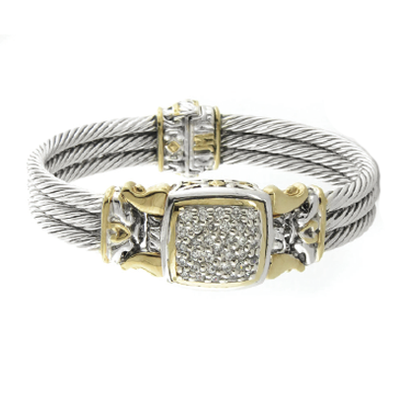 Anvil Square Pave Cable Bracelet