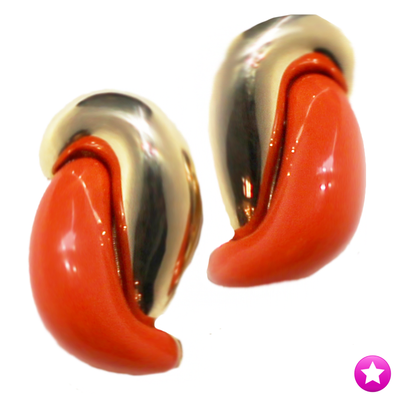 Coral Clip On Earrings