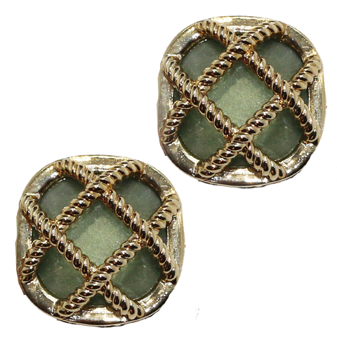 Green Cross Clip Earrings
