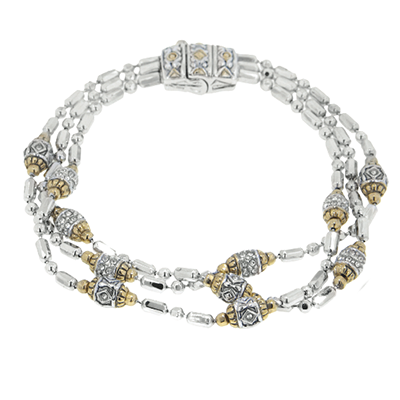 Beaded Pave Triple Strand Bracelet