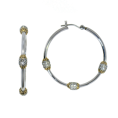 Beaded Pave Triple Hoop Earrings
