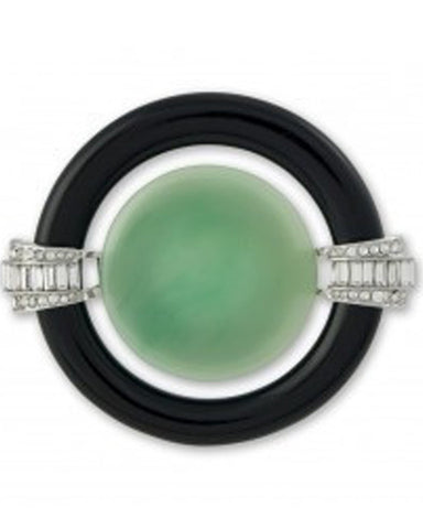 Black and Jade Art Deco Brooch