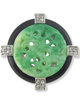 Jade Art Deco Circle Pin