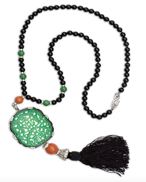 Carved Tassel Bead Necklace
