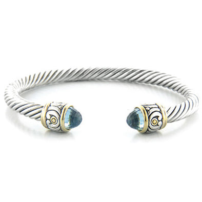 Nouveau Small Plain Wire Cuff With Stone Tip