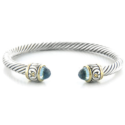 Nouveau Small Wire Cuff With Stone Tip