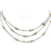 Beaded Pave Triple Strand Necklace