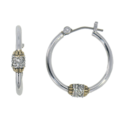 Beaded Pave Hoop Earrings