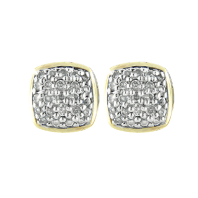 Anvil Square Pave Post Clip Earrings