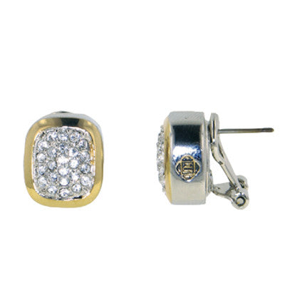 Pave Nouveau Post Clip Earrings