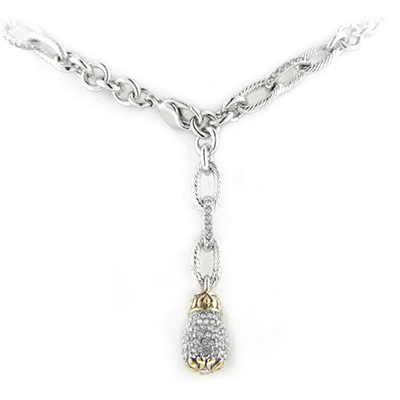 Briolette Adjustable Pave Single Drop Necklace