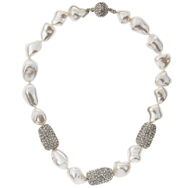 Pave Crystal Pearl Necklace