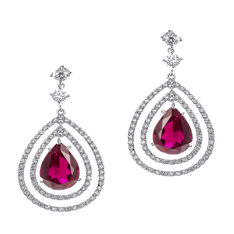 Pink Halo Drop Earrings