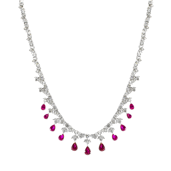 Pink Tear Droplet Necklace