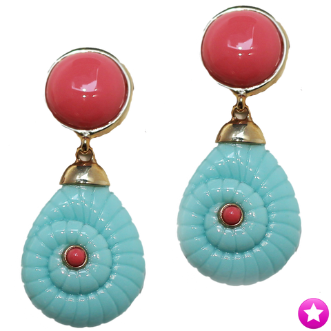 Pink and Turquoise Earrings