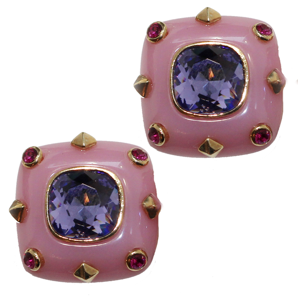 Pink Square Clip Earrings