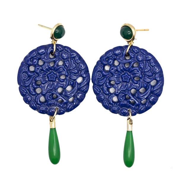 Carved Disc Earrings