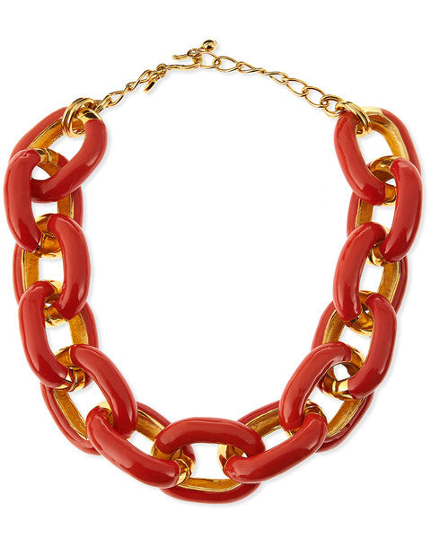 Coral Enamel Chain Necklace