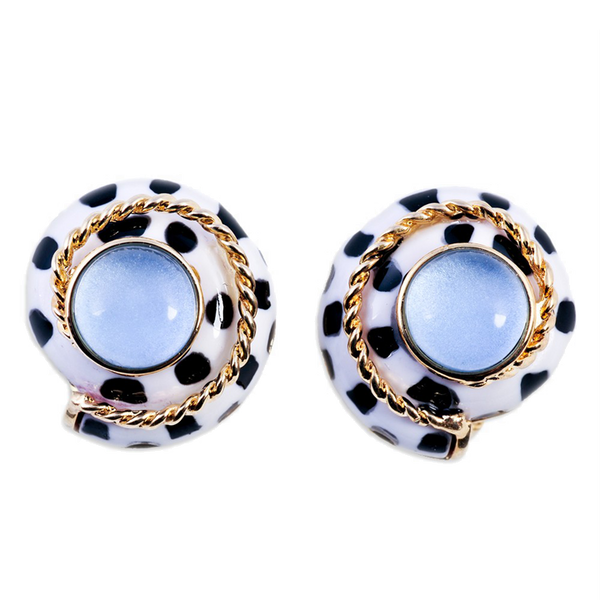 Polka Dot Resin Clip On Earrings