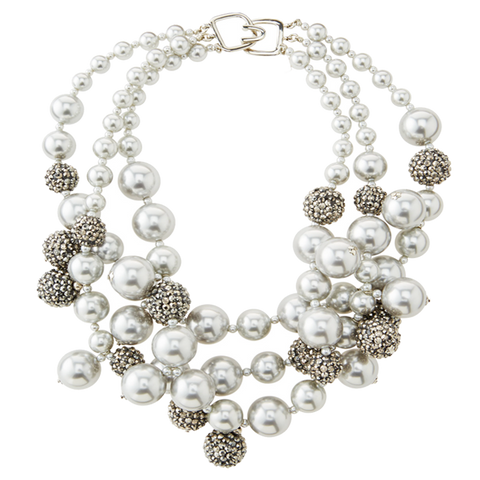 Grey Pearl Pave Bauble Necklace