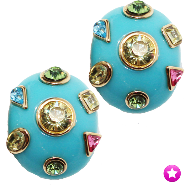 Turquoise Gem Oval Clip Earrings