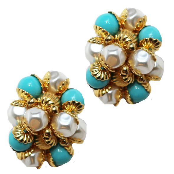 Turquoise and Pearl Earrings
