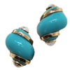 Turquoise Shell Clip Earrings