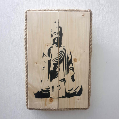 Sitting Meditating  Buddha Wall Art Pine Wood & Rope edging - Totally Buddha