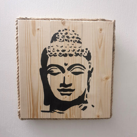 Square Buddha Head Wall Art Pine Wood & Rope edging - Totally Buddha