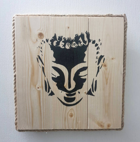 Square Beatles Buddha Head Wall Art Pine Wood & Rope edging - Totally Buddha