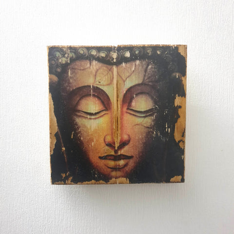 Square Image Transfer technique Buddha Head Wall Art - Totally Buddha
